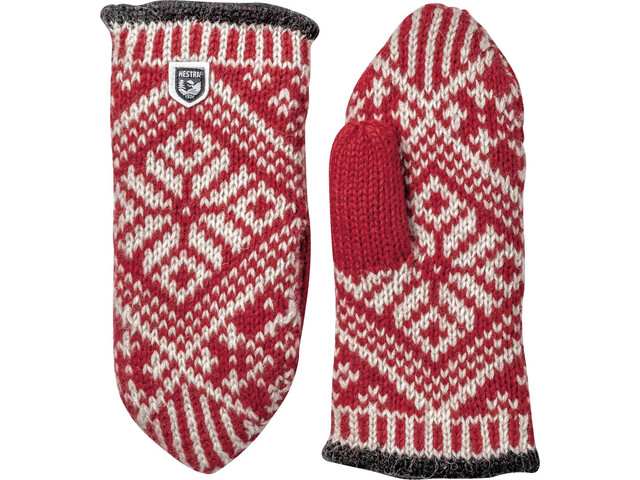 Hestra Nordic Wool Wanten, red/offwhite